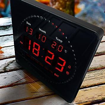 6319a1f07ca Relógio De Parede Led Digital com Termômetro Alarme e Data 28cm x 28cm