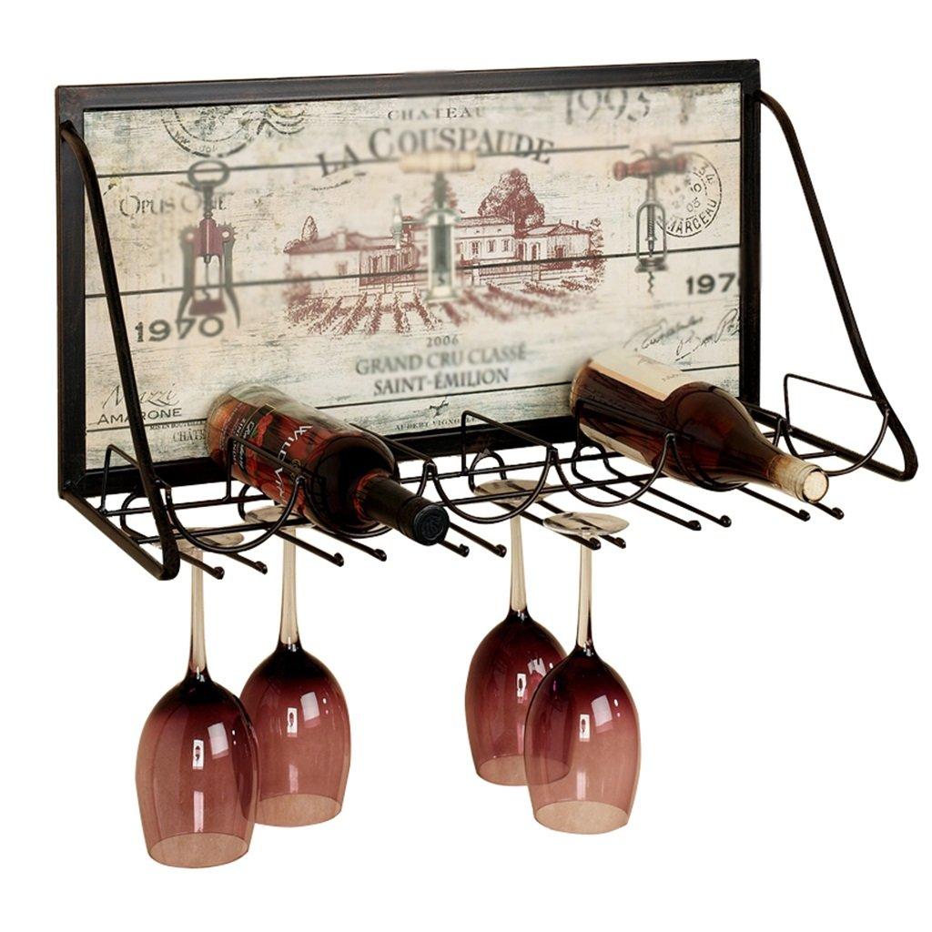 ZCJB Casier à vin Iron Art Étagère À Vin Mural Porte-gobelet Créatif Suspension Porte-gobelet Bar Porte-gobelet