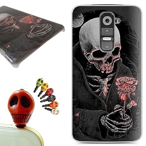 LG G2 funda - Gallery88 LG G2 Carcasa, (Cráneo que sostiene una flor) Protectora de Plastica de Duro PC Funda Tapa Case Cover para LG G2 + 1 x Color ...