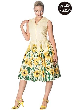 Banned Sunflower Plus Size Vintage Retro Shirtdress - UK-22 ...