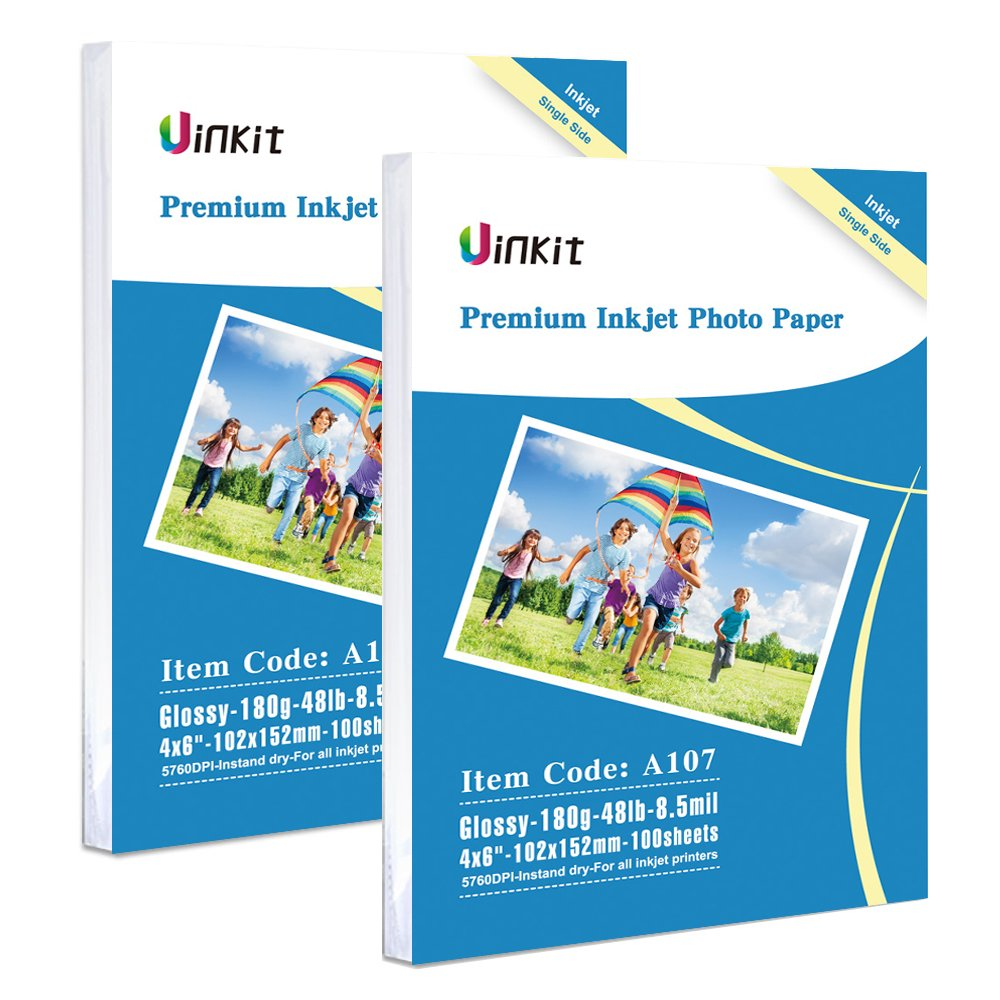 High Glossy Photo Paper 8.5x11 - Uinkit (A105) Inkjet Paper 100 Sheets 8.5Mil 180G for HP, EPSON, Canon, Brother Inkjet Printing - 8.5x11 Glossy