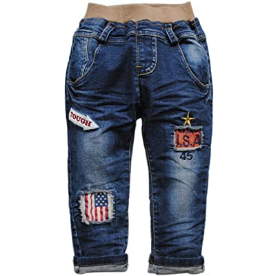 3881 spring autumn baby kids children pants single pants navy Blue jeans
