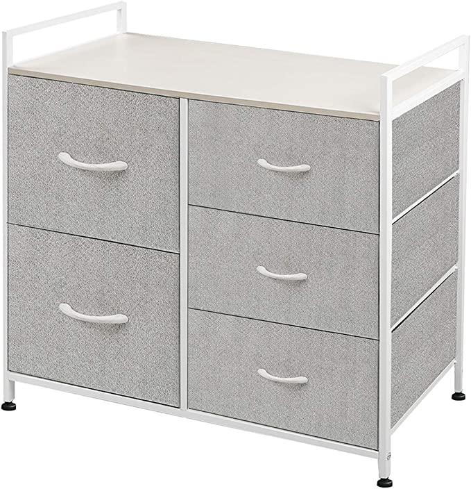 WLIVE White and Gray Colored Dresser with 5 Drawers, modern dresser ikea