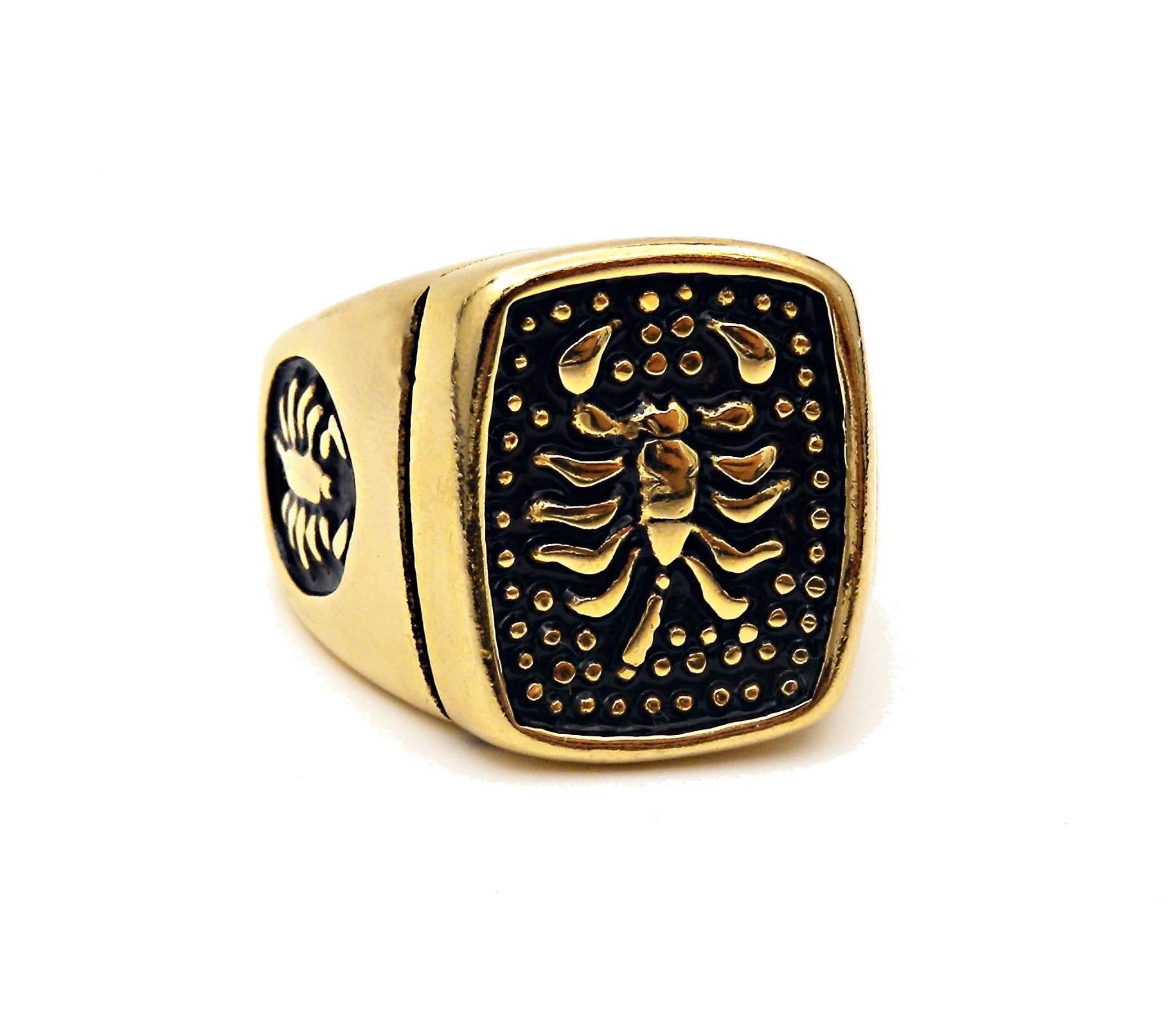 Charlotte Men's Stainless Steel Gothic Scorpion Ring Black Gold sizes 8-12