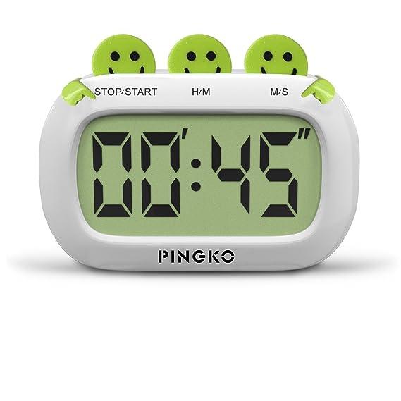Pingko Cronómetro Temporizador Digital De Docina De Diseño Estético Con Grandes Dígitos & Alama Ruidosa, Color Verde