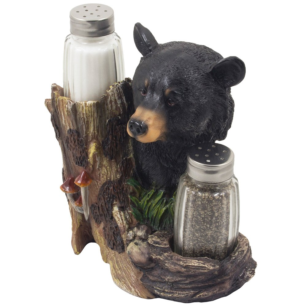 Amazon.com: Black Bear Glass Salt And Pepper Shaker Set Sculpture Kitchen  Decor In Rustic Lodge And Cabin Figurines By Home N Gifts: Kitchen U0026 Dining