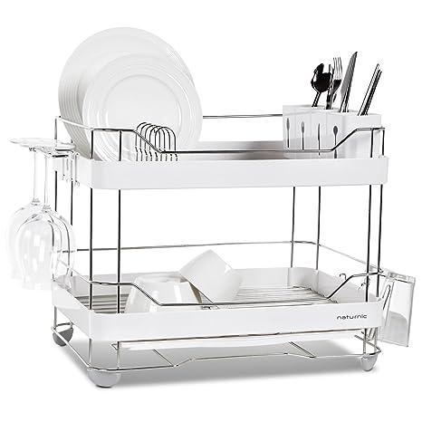Amazon com - 2 Tier Wide Kitchen Sinkware Dish Rack, Dish