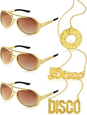 6 Pieces Disco Costume Set 3 Elvis Style Rockstar Sunglass and 3 Disco Necklace Golden