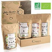 Café en grain BIO, Coffret dégustation café 4x250g | Café Grain Arabica, Torréfaction Artisanale | Coffret Cadeau