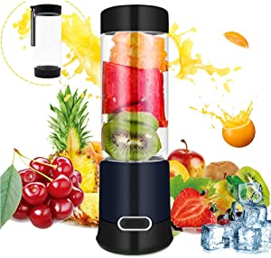 Portable Blender, Portable Blender Juicer Cup, Smoothie Blender, Stainless blades 16500rpm, 5000mAH USB Rechargeable Cordless Smoothie Glass Blender for Travel, Gym, Picnic, Kitchen (FDA, BPA free) (Double Portable blender)