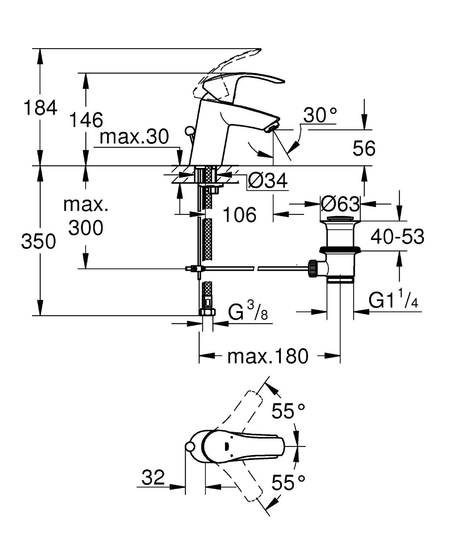 presi/ón minima 0.2 bar cartucho de 35 mm Grohe 3246720L Grifo de lavabo