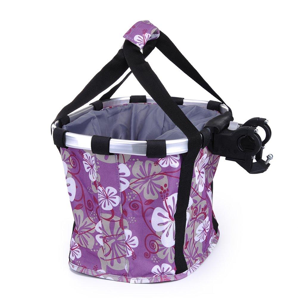 Pet Dog Bike Basket & Carrier Bag- Foldable Detachable Pet Travel Bicycle Basket - Small Animal Dog Cat Rabbit Bike Ride Basket Carrier (Purple) by Petall