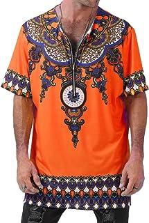 juqilu Maglietta Girocollo A Manica Corta Tees Summer Loose Fit Maglieria da Donna Hippie Top Tops T-Shirt Tradizionale Stile Etnico Africano B180527MT2-lu
