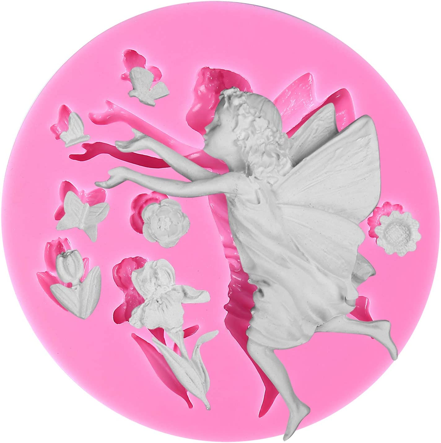 Funshowcase Fairy or Angel with Flowers Silicone Cake Decorating Mold, for Fondant Cake Decoration, Cupcake Topper, Polymer Clay, Crafting, Resin Epoxy, Jewelry Making 8.5x8.5x1.5cm