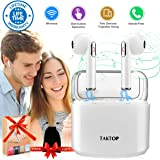 Wireless Earbuds Bluetooth Headphones Stereo with Charging Case Mini in-Ear Earphones w/Mic Noise Canceling Sweatproof Sports Running Wireless Headphone Bluetooth Earbud for Android iOS