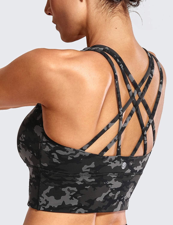 CRZ YOGA Donna Reggiseno Sportivo Yoga Spalline Incrociate Imbottite Lunga Top Senza Ferretto
