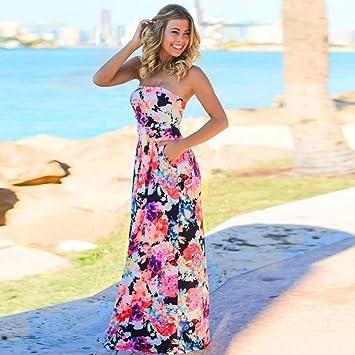 Sannysis Damen Bandeau Urlaub Langes Kleid Damen Sommer Blumen Maxi Kleid   Amazon.de  Sport   Freizeit 0c220c0bb1
