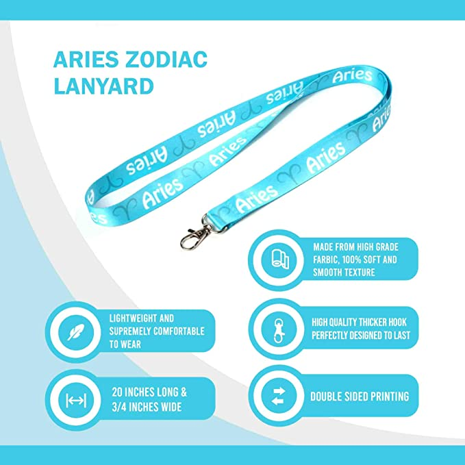 Amazon Com Rocknerdy Zodiac Sign Aries Lanyard Keychain W Clasp Horoscope Astrology Signs Id Lanyard For Keys Badges Usb Whistle Astrology Aries Id Holder Keychain For Women Men Kids Gifts