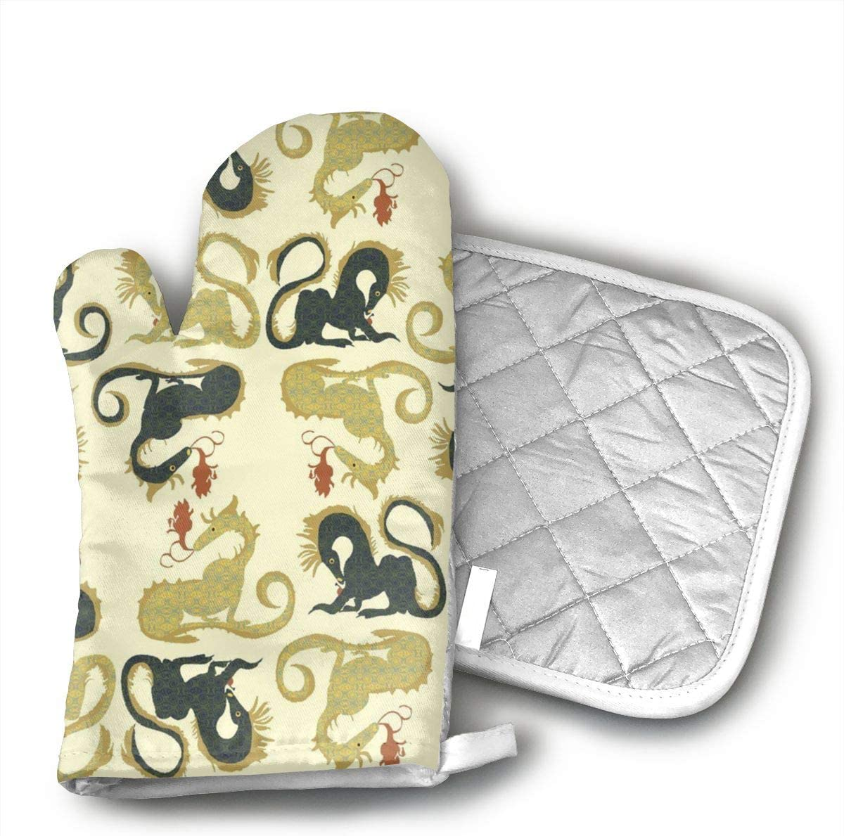 HGUIDHG Golden Dragons Patterned Oven Mitts+Insulated Square Mat,Heat Resistant Kitchen Gloves Soft Insulated Deep Pockets, Non-Slip Handles