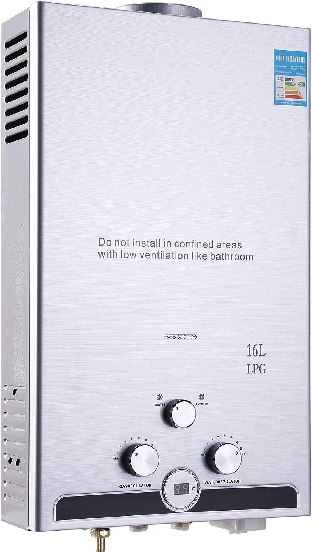 Chaudi/ère Inox Instantan/é avec LED /Écran 32 KW 16 Litres Chauffage d/'Eau au Propane 32 KW 16L Chauffe Eau LPG Z ZELUS Chauffe-Eau /à Gaz