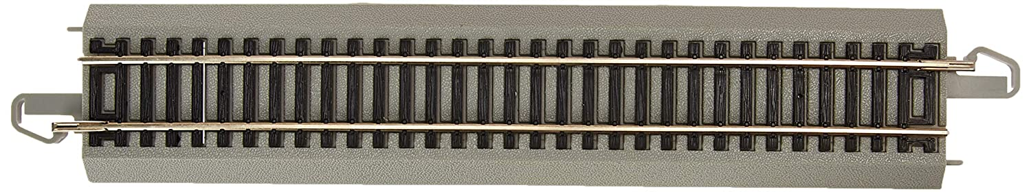 """Bachmann Trains - Snap-Fit E-Z TRACK 9"""" STRAIGHT TRACK - BULK (50 pcs) - NICKEL SILVER Rail With Gray Roadbed - HO Scale"""
