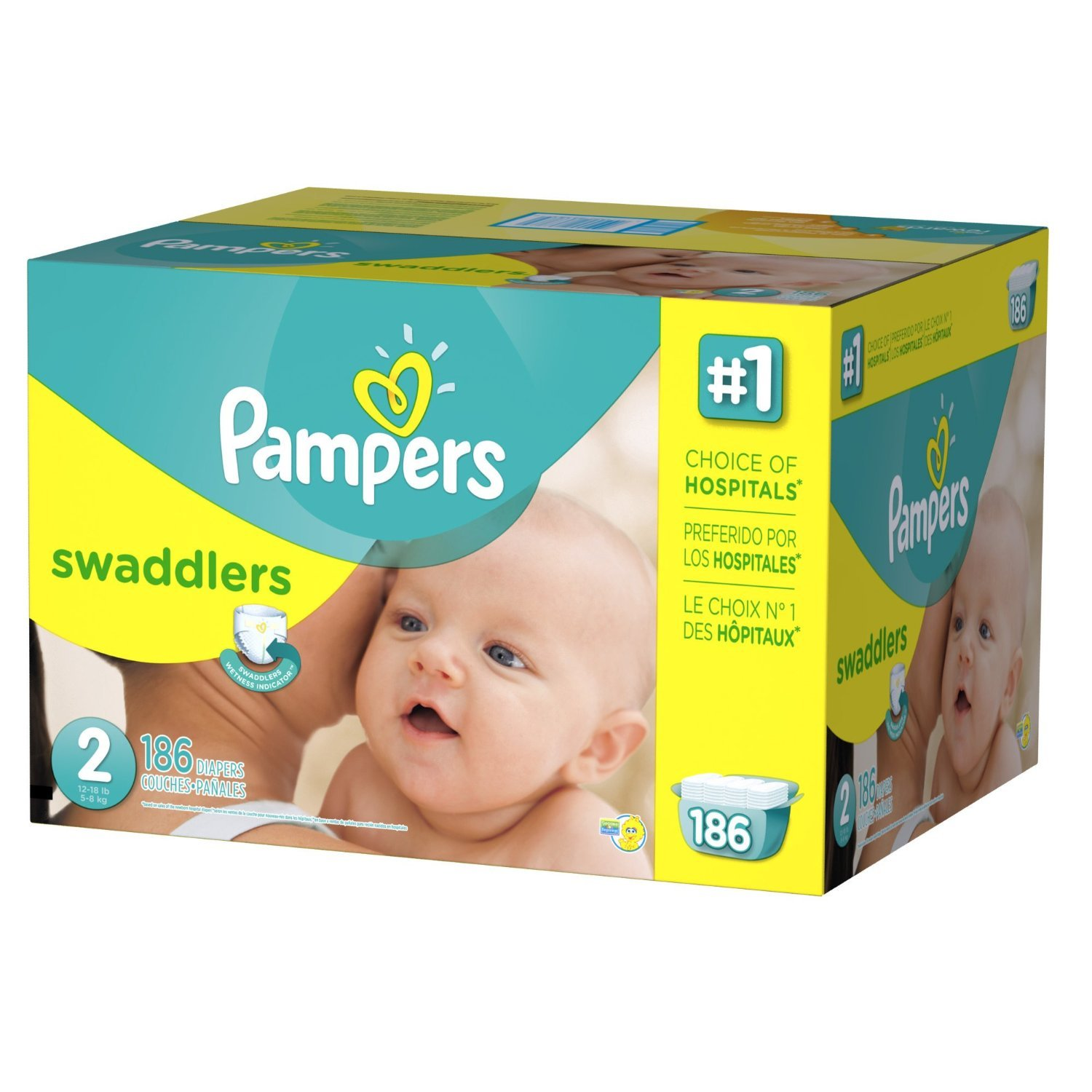 Amazon.com: Pampers Swaddlers Diapers Size 2 Economy Pack Plus 186 Count: Health & Personal Care