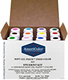 Food Coloring AmeriColor Student - Kit 12 .75 Ounce Bottles Soft Gel Paste Colors