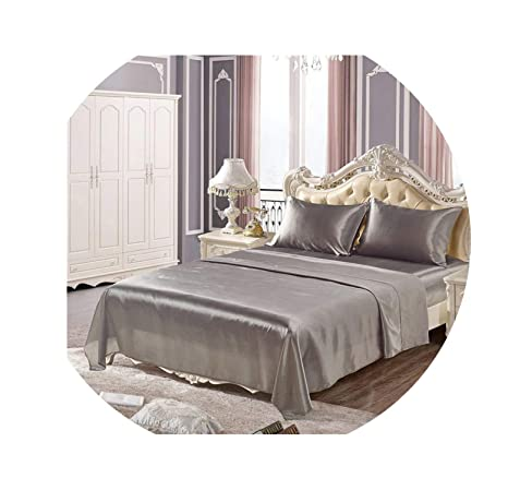 Bed Sheet Set Cover White Flat Fitted Bedding Satin Soft Silk Bed Queen Size