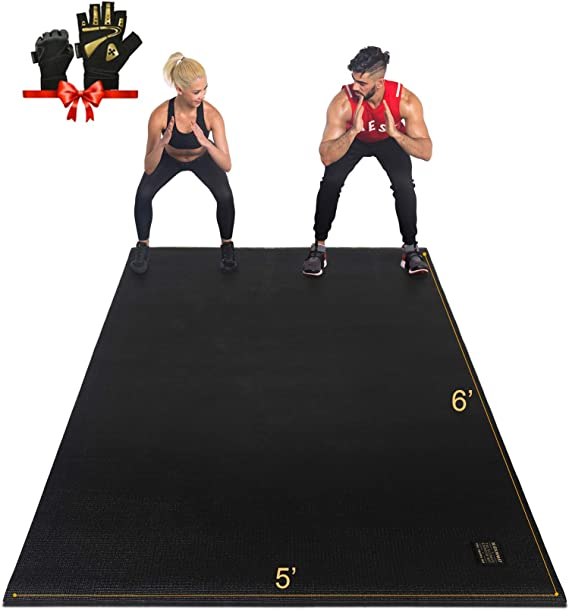 GXMMAT Large Exercise Mat 6'x5'x7mm, Non-Slip Workout Mats for Home Gym Flooring, Extra Wide and Thick Durable Cardio Mat, High Density, Shoe Friendly,Great for Plyo, MMA, JumpRope,Str...