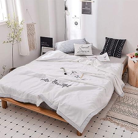 Edredón de algodón Edredón fino de algodón lavable blanco de estilo nórdico Edredón de verano Aire