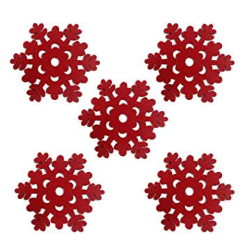 Tonwhar Snowflake Shape Red Felt Coasters Cup Mats For Christmas,set Of 5  (Red Great Ideas