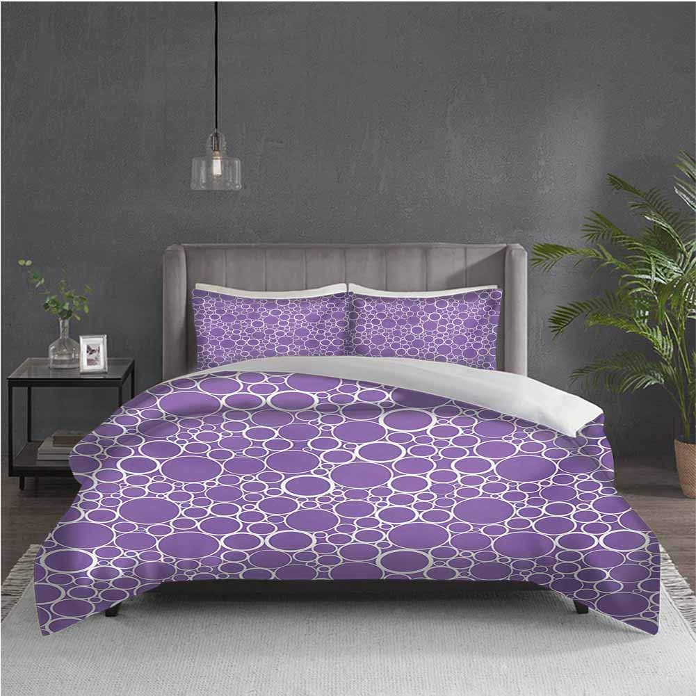 GUUVOR Mauve Pure Bedding Hotel Luxury Bed Linen Abstract Geometrical Linked Circles in Many Sizes Fractal Diameter Rings Print Polyester - Soft and Breathable (Queen) Violet White