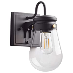 """Stone & Beam Rustic Indoor Outdoor Wall Sconce with Bulb, 10.25""""H, Matte Black"""