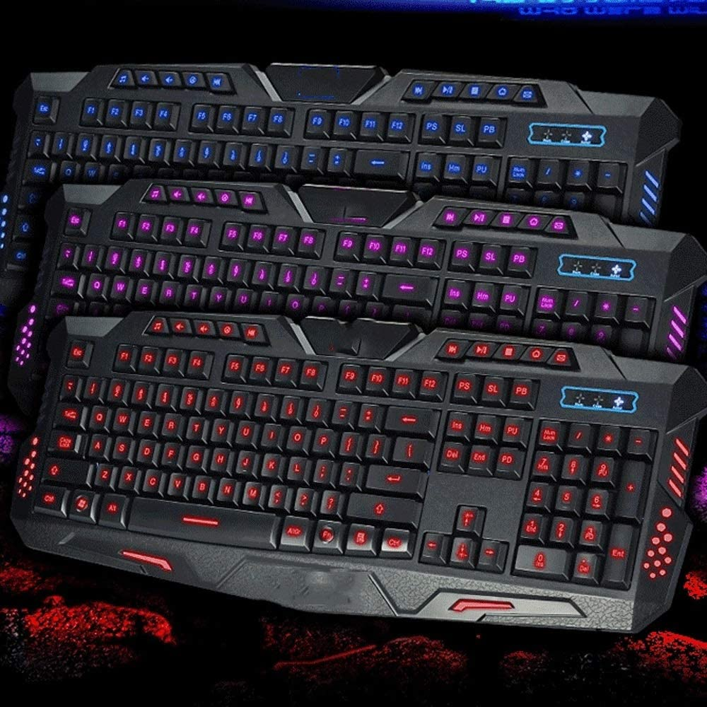 TRDyj Keyboard English Three-Color Backlit Keyboard Multiple Backlight Mode Can Turn Off The Light Support Game Suitable for Office