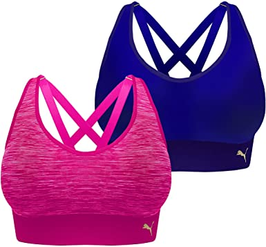 Amazon Com Puma Sports Bra Seamless Strappy Back Removable Cups Tag Free 2 Pack Navy Fuchsia Small Clothing