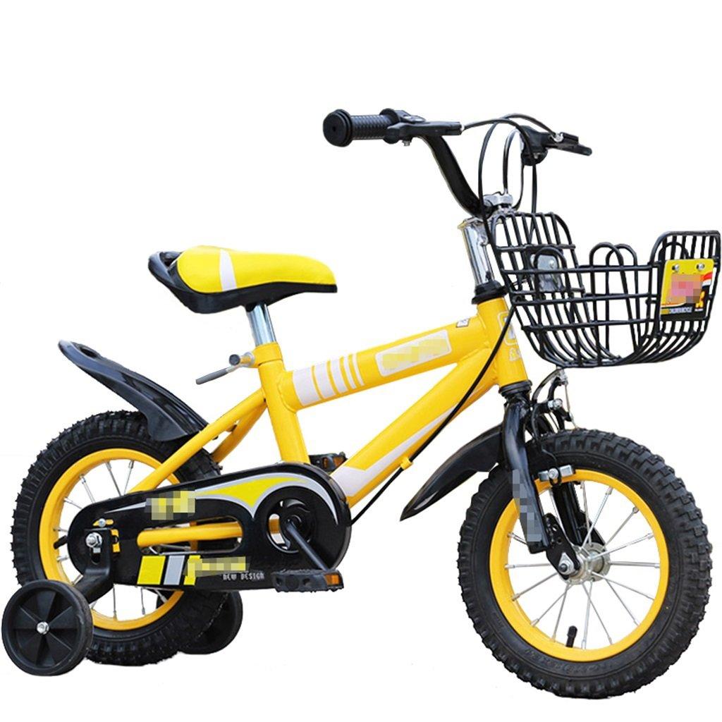 KANGR-子ども用自転車 子供用自転車マウンテンバイクに適した2-3-6-8少年少女キッズ玩具ハンドルバー/サドル高さはトレーニングホイールで調節可能-12 / 14/16/18インチ ( 色 : イエロー いえろ゜ , サイズ さいず : 12インチ ) B07BTMJ7Z7 12インチ イエロー いえろ゜ イエロー いえろ゜ 12インチ
