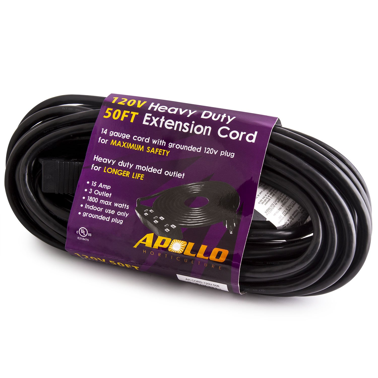 Apollo Horticulture 14 Gauge 120v Heavy Duty 50ft Extension Cord Grounded Plug Wiring With 3 Outlet Power Strip