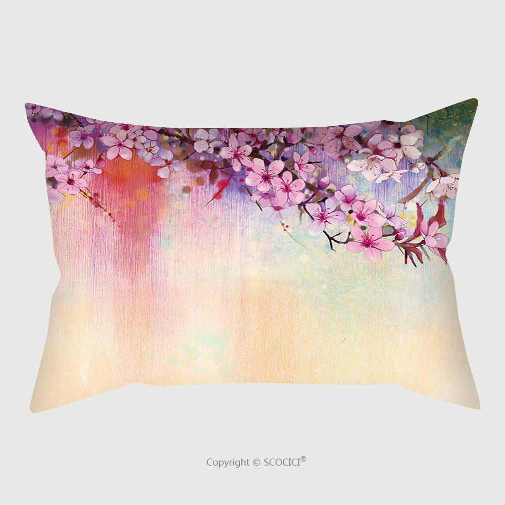 Custom Satin Pillowcase Protector Watercolor Painting Cherry Blossoms Japanese Cherry Pink Sakura Floral In Soft Color Over Blurred Nature Background. Spring Flower Seasonal Nature Background_5 by chaoran