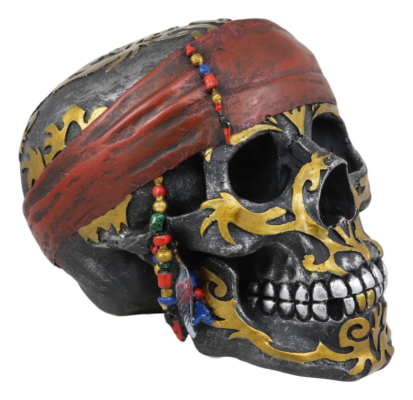 Ebros - Figura Decorativa de Calavera Pirata con diseño Tribal de ...