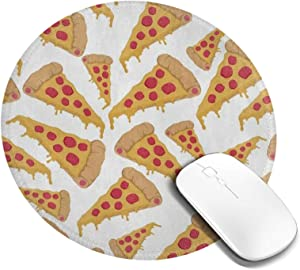 Mini Mouse Pad Round Cartoon Pizza Food Computer Mouse Pads Laptop Mousepad Circle Small Cute Personalized Gaming Mouse Mat for Women Kids Girls Boys Men Non Slip 7.9 X 7.9