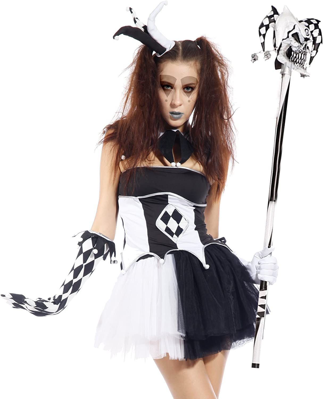 Ladies Halloween Tricksterina Jester Harlequin Circus Clown Fancy Dress Costume