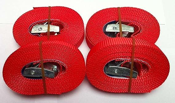Iapyx 4 Spanngurte Zurrgurte 250 Kg 4 M Signalfarbe Rot Mit Klemmschloss Spanngurt Schnellspannung Befestigungsriemen Auto