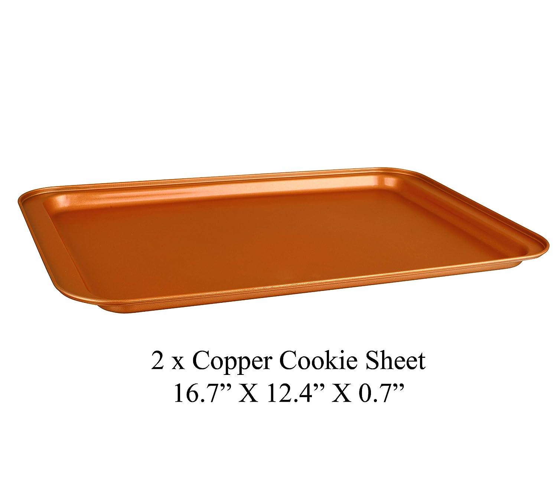Rectangle Pan Organic Environmental Friendly Premium Coating Durable Quality 3 pcs Toxic Free NONSTICK 3 Cookie Sheet BAKEWARE SET CopperKitchen Baking Pans