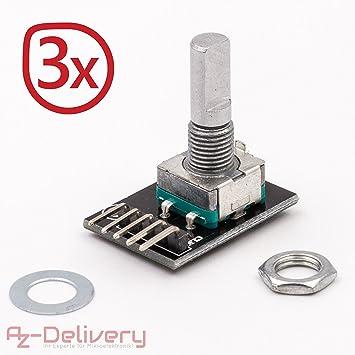 AZDelivery ⭐⭐⭐⭐⭐ Set of 3 Ky 040 Drehwinkelgeber Rotary Encoder Rotary  Encoder Module for Arduino