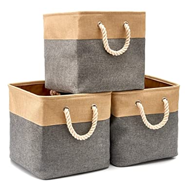 EZOWare Collapsible Storage Bin Cube Basket [3-Pack] Foldable Canvas Fabric Tweed Storage Bin Set with Handles - Gray for Toys Closet Clothes Baby (13 x 13 x 13 inches)