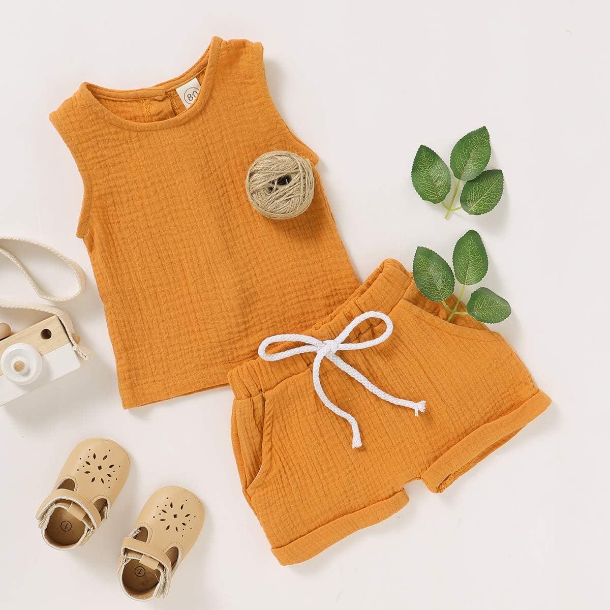 GRNSHTS Infant Baby Boys Girls Summer Shorts Set Unisex Linen Tank Top+Solid Color Short Pants 2Pcs Clothes
