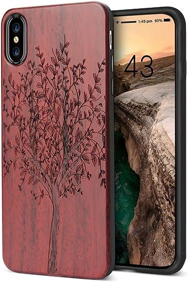 Coque en bois pour iPhone XS - Coque souple en silicone souple - Protection complète contre les chocs - Résistante - Fine - Résistante - Pour Apple ...
