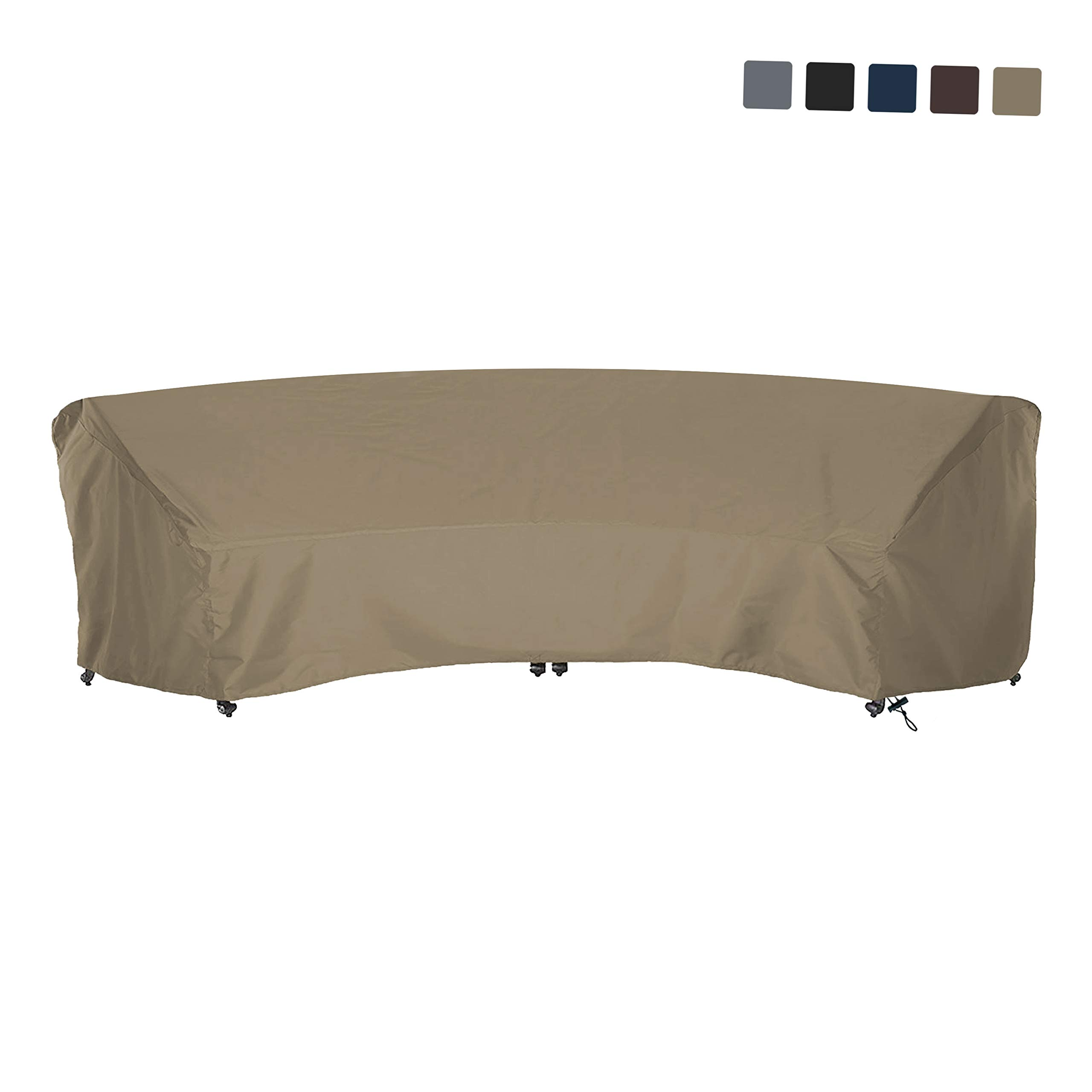 COVERS & ALL Curved Sofa Cover 12 Oz Waterproof - 100% UV & Weather Resistant Customize Outdoor Sofa Cover with Air Pockets and Drawstring with Snug Fit (120 L x 36 W x 38 H x 82 FL, Beige)