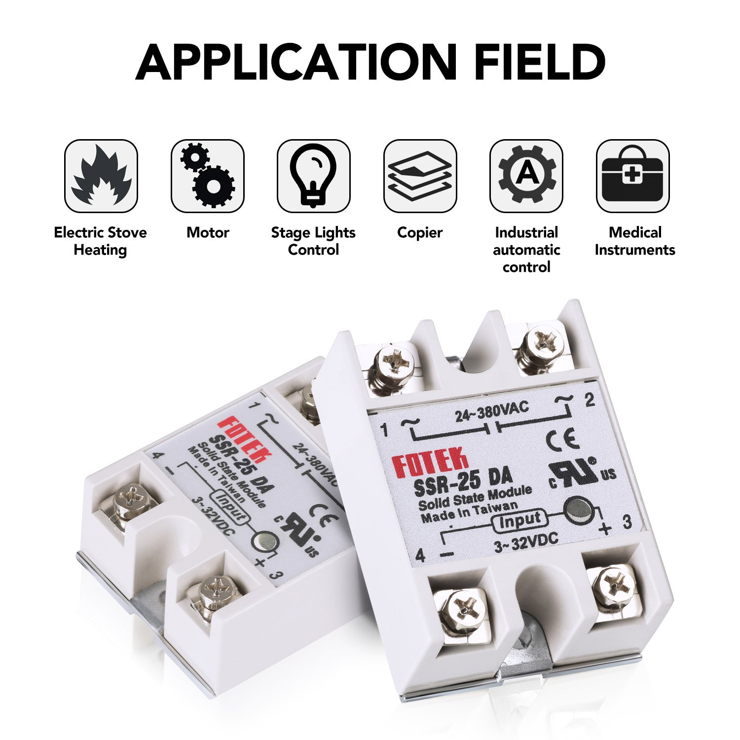 Mysweety 3pcs Ssr 25da Solid State Relay Single Phase Semi Conductor Taiwan Input 3 32v Dc Output 24 380v Ac 202495 Us2 Relays Industrial