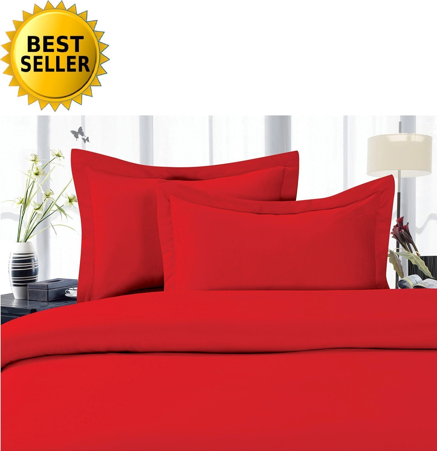 Luxury Egyptian Quality Wrinkle and Fade Resistant 4-Piece Sheet Set, Queen, Red
